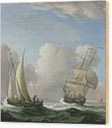 A Man-o'-war In A Swell And A Sailing Boat Wood Print
