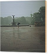 A Man Scurries Across Bethesda Terrace Wood Print