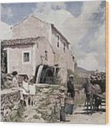 A Man Transports Wood In Terceira Wood Print by Wilhelm Tobien