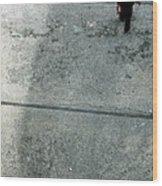 A Man Walked Visible From Above Wood Print