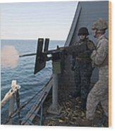 A Marine Fires A .50-caliber Machine Wood Print