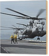 A Marine Mh-53 Helicopter Takes Wood Print
