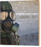 A Marine Wearing A Gas Mask Wood Print