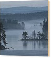 A Misty Forest Lake With A Small Island Wood Print