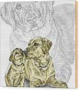 A Mothers Love - Labrador Dog Print Color Tinted Wood Print