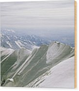 A Mountain Climber Hikes Wood Print