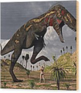 A Nano-tyrannosaurus Takes On Adam Wood Print