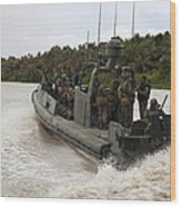 A Navy Riverine Patrol Boat Conducts Wood Print