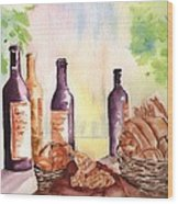 A Nice Bread And Wine Selection Wood Print by Sharon Mick