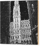 A Night On The Grand Place Wood Print
