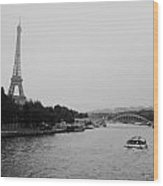 A Noir Look At The Eiffel Tower Wood Print
