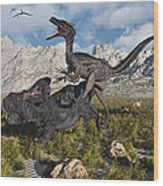A Pack Of Velociraptors Attack A Lone Wood Print