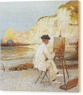 A Painter By The Sea Side Wood Print