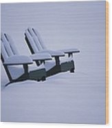 A Pair Of Adirondack Chairs In The Snow Wood Print