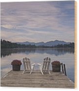 A Pair Of Adirondack Chairs On A Dock Wood Print
