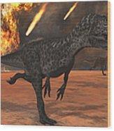 A Pair Of Allosaurus Dinosaurs Running Wood Print