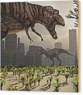 A Pair Of Tyrannosaurus Rex Explore Wood Print