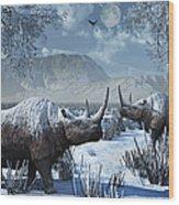 A Pair Of Woolly Rhinoceros In A Severe Wood Print