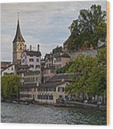 A Panorama View Of Zurich Wood Print