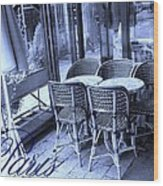 A Parisian Sidewalk Cafe In Blue Wood Print by Jennifer Holcombe