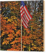 A Patriotic Autumn Wood Print