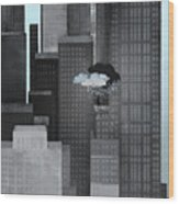 A Person On A Skyscraper Under A Storm Cloud Getting Rained On Wood Print