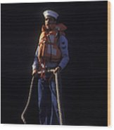 A Petty Officer Secures Rope Tied Wood Print