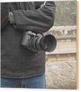 A Photographer With His Digital Camera On Location At A Historical Monument Wood Print