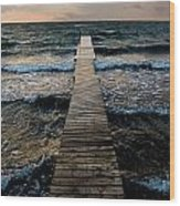 A Pier In The Water Wood Print