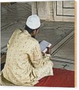 A Pious Devotee Reading The Quran Inside The Jama Masjid In Delhi Wood Print