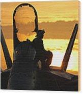 A Plane Captain Enjoys A Sunset Wood Print