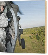 A Platoon Sergeant Prepares To Land Wood Print