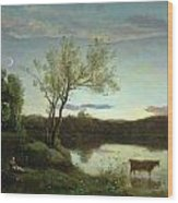 A Pond With Three Cows And A Crescent Moon Wood Print