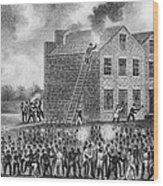 A Pro-slavery Mob Burning Wood Print by Everett