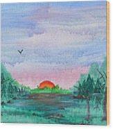 A Rainy Misty Sunrise Wood Print