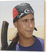 A Rebel Fighter With An Ak-47 Assault Wood Print