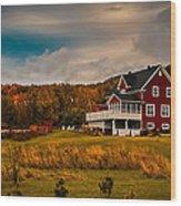 A Red Farmhouse In A Fallscape Wood Print
