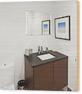 A Restroom Or Bathroom. Toilet Wood Print