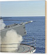 A Rim-7 Sea Sparrow Is Launched Wood Print by Stocktrek Images