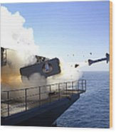 A Rim-7 Sea Sparrow Missile Launches Wood Print