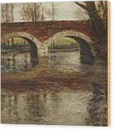 A River Landscape With A Bridge  Wood Print