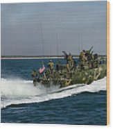 A Riverine Command Boat During Exercise Wood Print