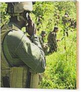 A Riverine Soldier Radios In Mock Wood Print