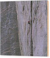 A Rock Climber Clings To An Overhang Wood Print