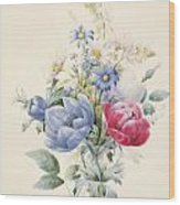 A Rose Anemone Mignonette And Daisies Wood Print