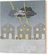 A Row Of Houses With A Storm Cloud Over One House Wood Print