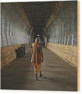 A Sadu Walks Through Rameswaram Temples Wood Print