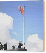 A Sailor Raises The First Navy Jack Wood Print