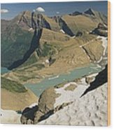 A Scenic View Of Lakes In Glacier Wood Print