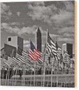 A Sea Of #flags During #marineweek Wood Print by Pete Michaud